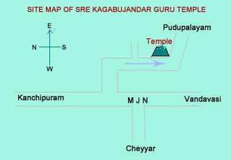 Site Map of Sre Kagabujandar Guru Temple Bus Root